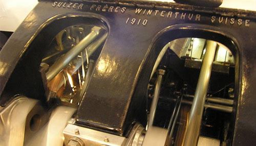 Bateau à vapeur La Suisse, journée inaugurale, machines en mouvement.